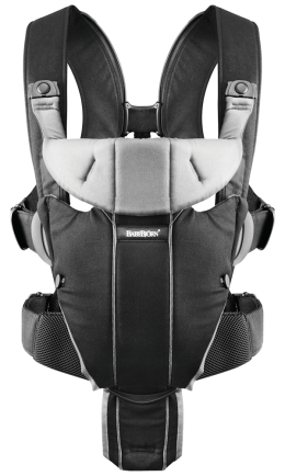 Рюкзак кенгуру Babybjorn Miracle цвет Black/Silver, Cotton Mix  - 6395